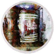 Round Beach Towel featuring the photograph Grandma's Kitchen Tins by Claire Bull