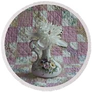 Grandmother's Vase And Her Son's Quilt Round Beach Towel