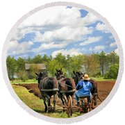 Round Beach Towel featuring the painting Grandpa And His Team Of Horses At Old World Wisconsin by Christopher Arndt