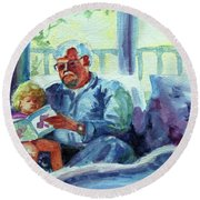 Round Beach Towel featuring the painting Grandpa Reading by Kathy Braud