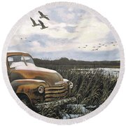Grandpa's Old Truck Round Beach Towel