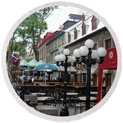 Round Beach Towel featuring the photograph Grande Allee Est by John Schneider
