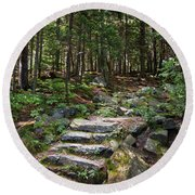 Round Beach Towel featuring the photograph Granite Steps, Camden Hills State Park, Camden, Maine -43933 by John Bald