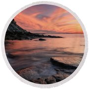 Granite Sunset Rockport Ma. Round Beach Towel by Michael Hubley