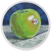 Round Beach Towel featuring the painting Granny Smith by Robert Decker