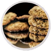 Round Beach Towel featuring the photograph Granola Cookies by Shirley Mangini