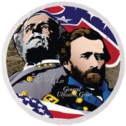 Grant And Lee At Appomattox Round Beach Towel