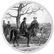 Round Beach Towel featuring the mixed media Grant And Lee At Appomattox by War Is Hell Store