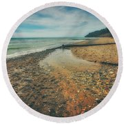Grant Park - Lake Michigan Beach Round Beach Towel by Jennifer Rondinelli Reilly - Fine Art Photography