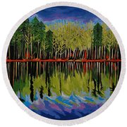 Grant's Lake Reflections Round Beach Towel by Kathleen Sartoris