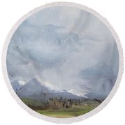 Round Beach Towel featuring the painting Grantsville Skies by Jane Autry