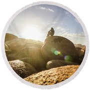 Granville Harbour Reflections Round Beach Towel