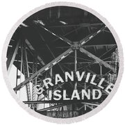 Granville Island Bridge Black And White- By Linda Woods Round Beach Towel