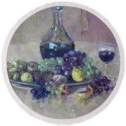 Grape And Wine Round Beach Towel