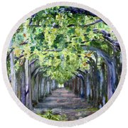 Grape Arbor Round Beach Towel by Donna Walsh