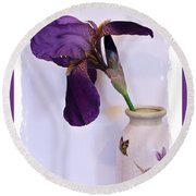 Grape Iris In A Vase Round Beach Towel by Marsha Heiken