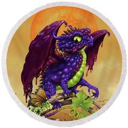 Grape Jelly Dragon Round Beach Towel by Stanley Morrison
