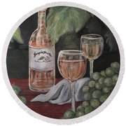 Grape Leaves And Wine Round Beach Towel
