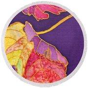 Grape Leaves Round Beach Towel