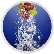 Grape Splash Round Beach Towel