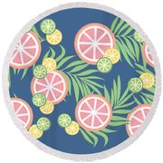 Grapefruit  Round Beach Towel by Lauren Amelia Hughes
