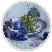 Grapes And Plums Round Beach Towel