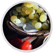 Round Beach Towel featuring the photograph Grapes And Tomatoes by Silvia Ganora