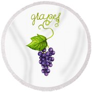 Round Beach Towel featuring the painting Grapes by Cindy Garber Iverson
