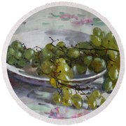 Grapes From Lida's Garden Round Beach Towel