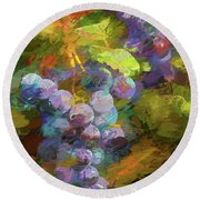 Grapes In Abstract Round Beach Towel by Penny Lisowski