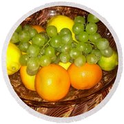 Grapes, Lemons, Mandarins And Lime  Round Beach Towel