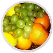 Grapes, Mandarins, Lemons Round Beach Towel