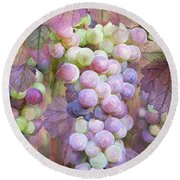 Round Beach Towel featuring the mixed media Grapes Of Many Colors by Carol Cavalaris