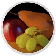 Grapes Plum And Pear 01 Round Beach Towel by Wally Hampton