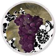 Grapes Suzette Round Beach Towel