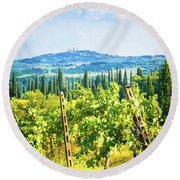 Round Beach Towel featuring the photograph Grapevine In San Gimignano Tuscany by Silvia Ganora