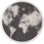 Round Beach Towel featuring the digital art Graphic Art Abstract World Map - Rose Gold And Marble by Melanie Viola