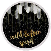 Round Beach Towel featuring the digital art Graphic Art Feathers Wild And Free Spirit - Sparkling Metals by Melanie Viola