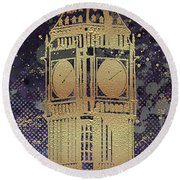 Round Beach Towel featuring the digital art Graphic Art London Big Ben - Ultraviolet And Golden by Melanie Viola