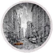 Round Beach Towel featuring the photograph Graphic Art New York City 5th Avenue by Melanie Viola