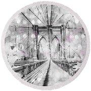 Round Beach Towel featuring the photograph Graphic Art New York City Brooklyn Bridge by Melanie Viola