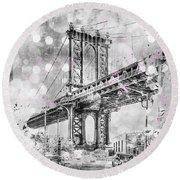 Round Beach Towel featuring the digital art Graphic Art New York City Manhattan Bridge by Melanie Viola