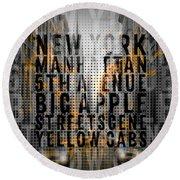 Graphic Art Nyc 5th Avenue Traffic - Typography And Splashes Round Beach Towel by Melanie Viola