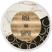 Round Beach Towel featuring the digital art Graphic Art Rise And Shine by Melanie Viola