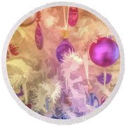 Round Beach Towel featuring the photograph Graphic Rainbow Christmas Tree Ornaments by Aimee L Maher Photography and Art Visit ALMGallerydotcom