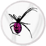 Graphic Spider Black And Purple Round Beach Towel