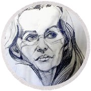 Round Beach Towel featuring the drawing Graphite Portrait Sketch Of A Woman With Glasses by Greta Corens