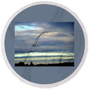 Grass Against Abstract Sky Round Beach Towel