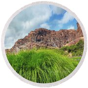 Grass Along John Day River In Central Oregon Round Beach Towel