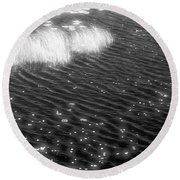 Grass And Water And Lilly Pads Bw2  Round Beach Towel